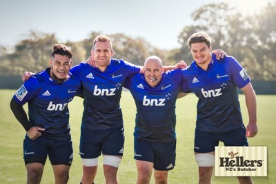 Canterbury Crusaders and Leigh Hart pose for commercial Photography Campaign for Hellers