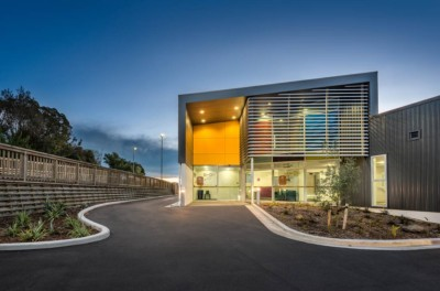 professional exterior commercial architectural photography. Glenelg Health Camp entrance