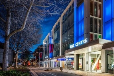 professional commercial architectural photography. Christchurch BNZ Centre photographed from outside at dusk by Anthony Turnham