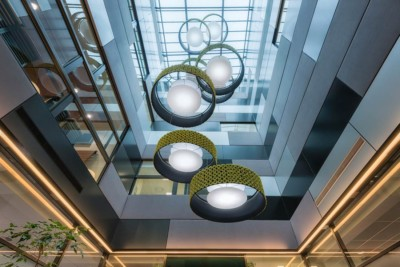 professional interior commercial architectural photography. Forte Health atrium.
