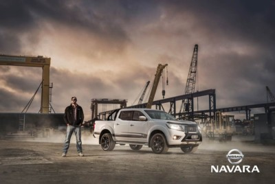 Nissan Navara advertising photo. A rugged man stands near Navara Ute for commercial automotive photography shoot.