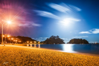 Kaiteriteri beach photographed at night in moon light with long exposure