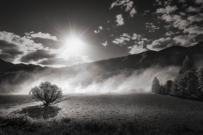 Backlit smoke sweeps across a field in new zealand. The sun flares in the sky.