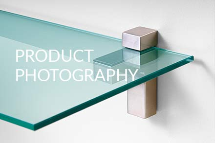 commercial photographer photographs product photography of glass shelving
