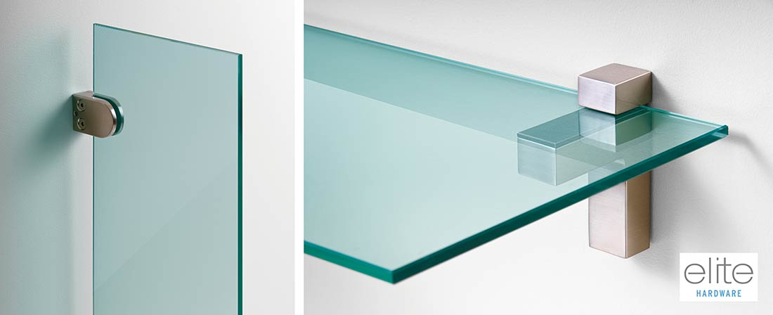 Product photography of glass shelves