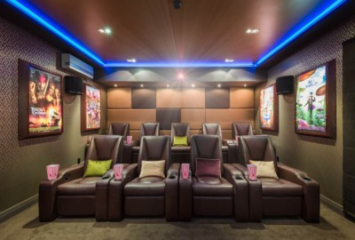 Home cinema in Christchurch NZ photographed by award winning architectural photographer